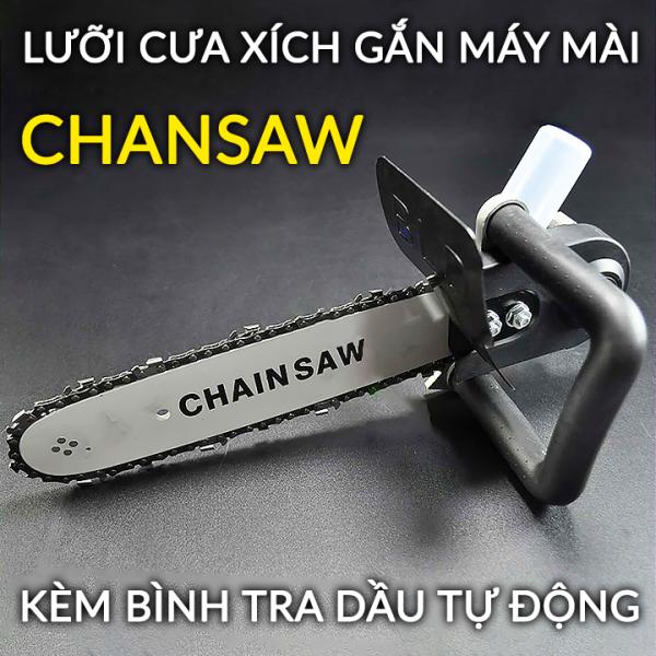 [ LOẠI 1 ] Lưỡi cưa xích gắn máy mài Chansaw Kèm Bình Tra Dầu Tự Động - Bộ chuyển đổi máy mài thành máy cưa - Cưa cây - Cắt gỗ - Cắt cành  - Thép tinh luyện chiu nhiệt tốt