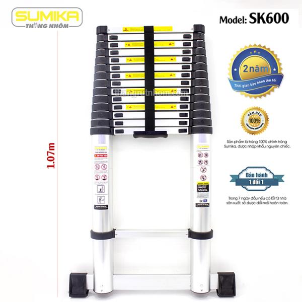Thang nhôm rút đơn Sumika SK600 (Cao 6,0m - Đai đen)