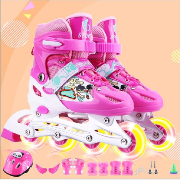 Mua Giày patin, giày patin trẻ em, giày patin 4 bánh màu Hồng, bánh xe phát sáng + Tặng bộ bảo hộ an toàn