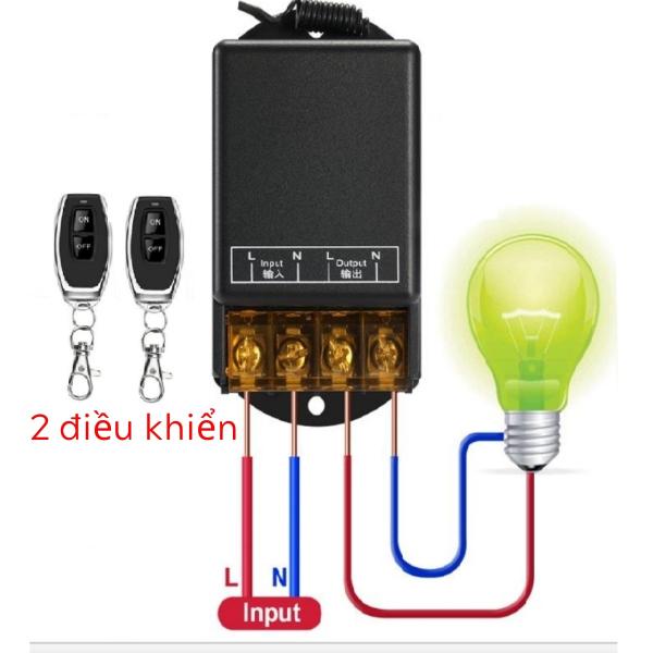 [2 điều khiển] Bộ Công Tắc Điều Khiển Từ Xa RF Không Dây 433MHZ 100M 30A/220V bật tắt bơm nước - máy rửa xe - bật đèn từ xa