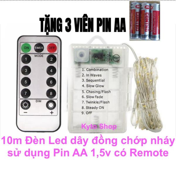 10m Dây đèn led trang trí chớp nháy có remote điều khiển sử dụng 3 pin aa 1.5v đèn led dây đồng