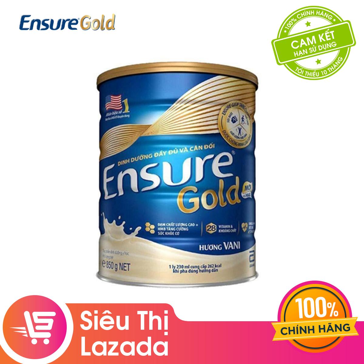 Offer tại Lazada cho [MUA 2 GIẢM 20K] Lon Sữa Bột Ensure Gold Hương Vani 850g