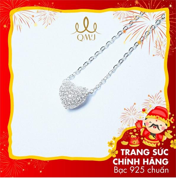QMJ dây chuyền bạc 925 cao cấp Tim love nạm đá tấm sáng với thiết kế tinh tế, có thể đeo được 2 mặt tinh tế dành cho bạn gái thích thời trang nữ đẹp - Q062
