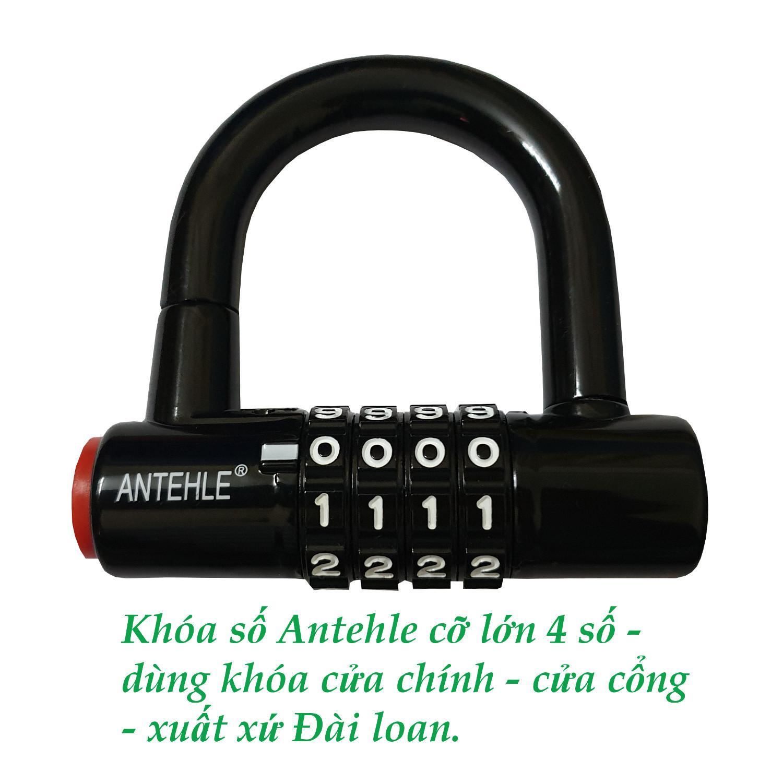 Khóa số cỡ lớn ANTEHLE 4 số thay đổi được mật mã - khóa cửa chính, cửa cổng - xuất xứ Đài loan với hai màu đỏ hoặc đen.