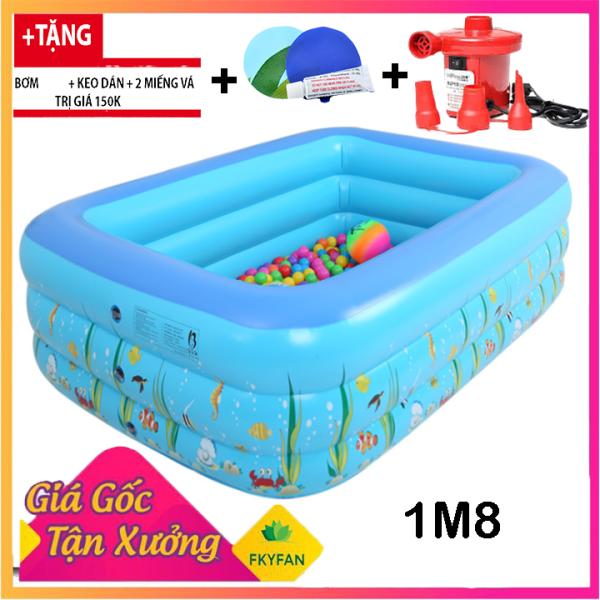 [BỂ 180X140X60cm + TẶNG BƠM ĐIỆN ] Bể bơi bơm hơi 180X140X60 cm,bể bơi mini gia đình,tam be boi tre em,Bể bơi phao Cỡ lớn cho bé và gia đình - Bể bơi phao 3 Tầng cỡ lớn: 180X140X60 loại dày tặng kèm Miếng Vá, hồ tắm cho trẻ em