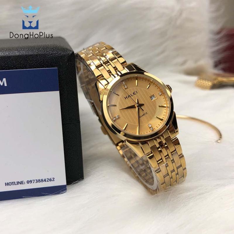 Đồng hồ nữ Halei HL562 vàng mặt đen chống xước, chống nước + tặng kèm dự phòng pin AG4 + lắc tym vàng