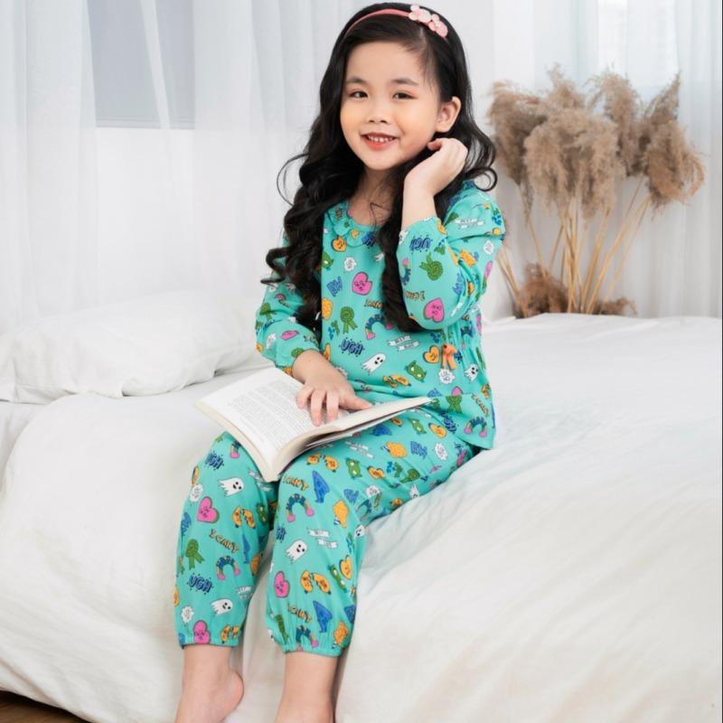 Nơi bán Bộ LANH mặc nhà bé gái quần dài áo dài Việt Thắng B70.2010 - Mặc đẹp, thoải mái