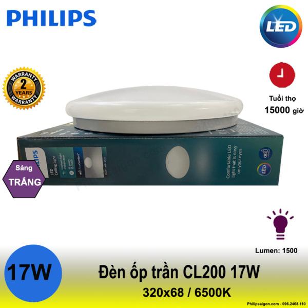 (Mẫu mới) Đèn ốp trần Philips CL200 17W sáng trắng (6500K) ,đố sáng cao hơn, tiết kiệm 80% điện năng, không hiện tượng ố vàng, dễ vệ sinh và chống con trùng - PhilipSaigon