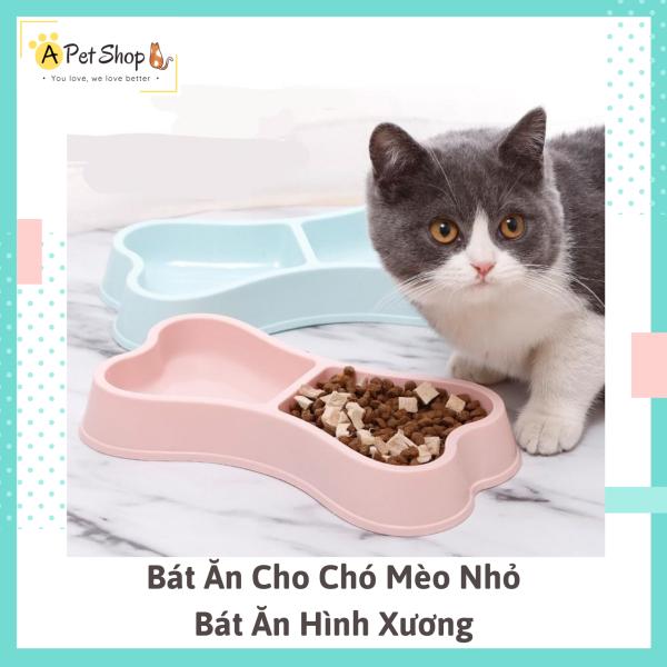(Có Clip) Bát Ăn Đôi Cho Chó Mèo Nhỏ - Bát Ăn Đôi Hình Xương - A Pet Shop