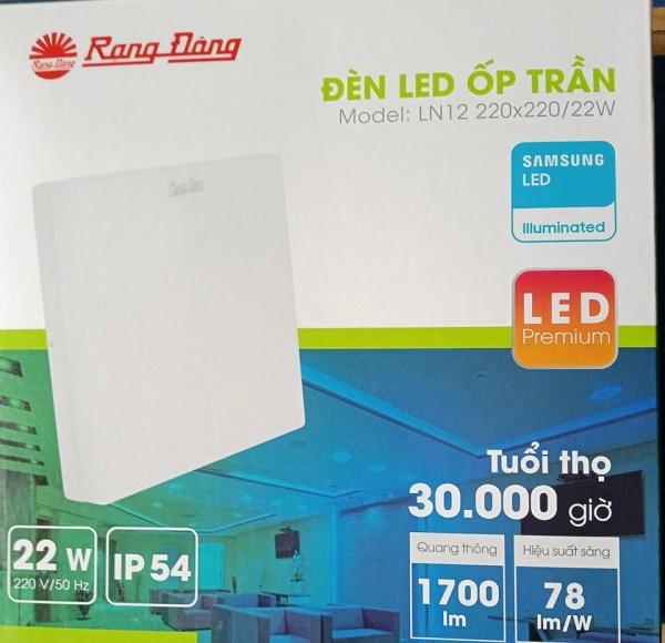 Đèn LED ốp trần vuông tràn viền  LN12 220x220/22W trắng, vàng Rạng Đông