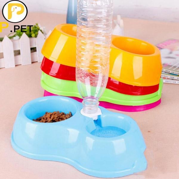 Bát nhựa đôi có bình nước tự động cho chó mèo(Không Bình)