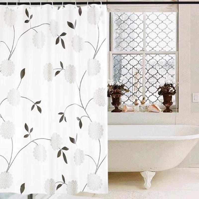 Rèm Phòng Tắm / Rèm Cửa Sổ Trắng Họa Tiết Hoa Cúc Đen 180cm X 180cm Loại 1