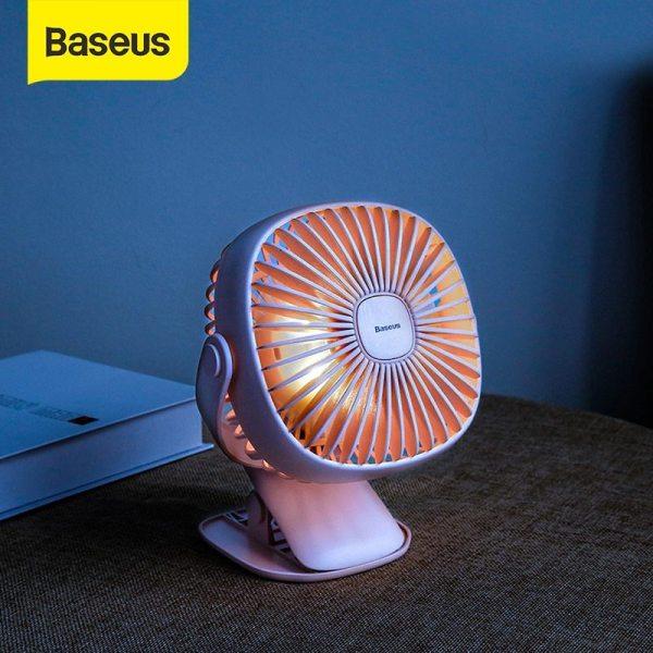 Quạt mini kẹp bạn có đèn ngủ baseus chính hãng xoay 360 Quạt tích điện mini kẹp bàn có đèn Baseus chính hãng