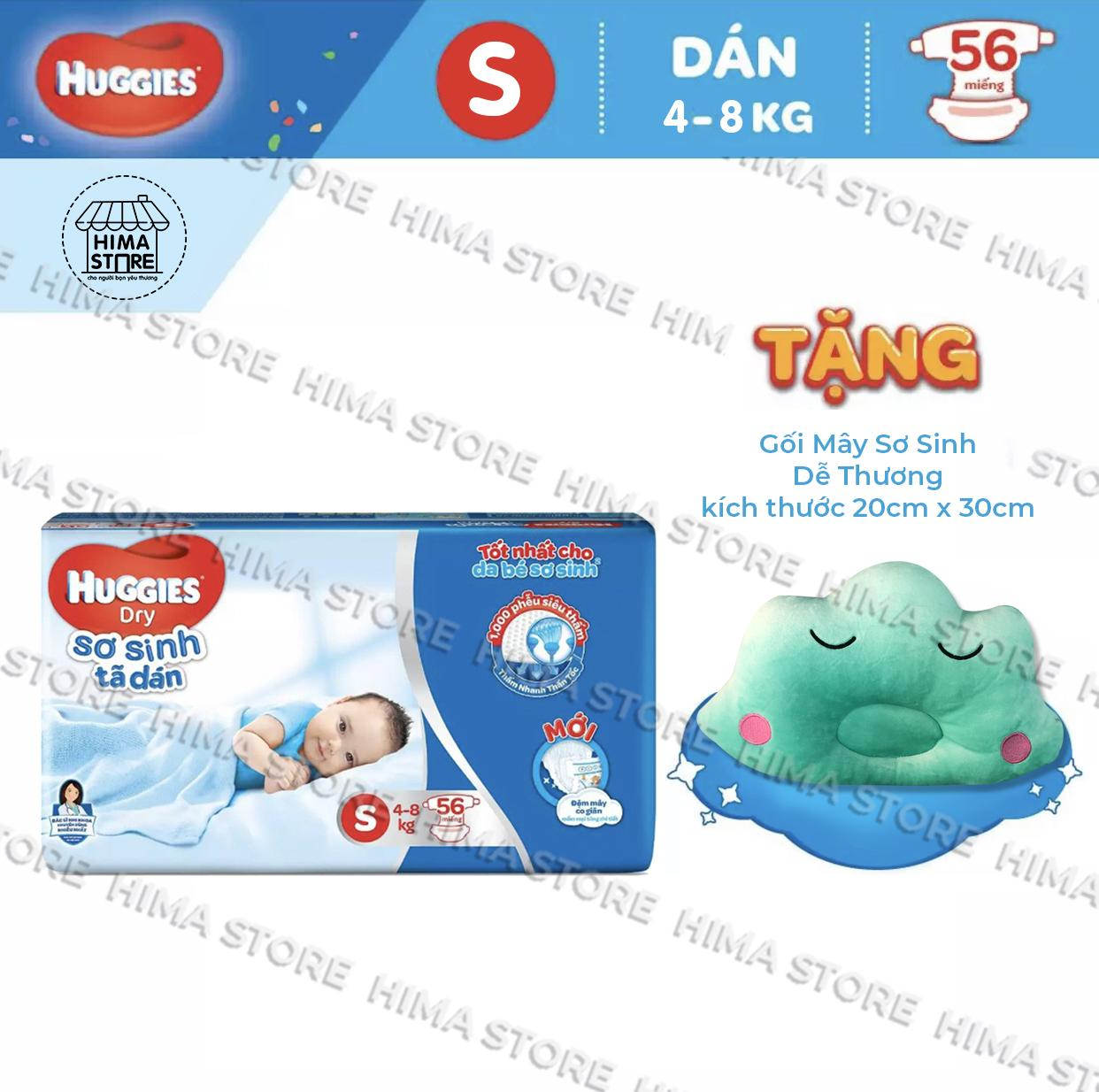 [Tặng Gối mây sơ sinh dễ thương] Tã dán sơ sinh Huggies Dry S56 - Huggies Dry Sơ Sinh Tã dán S56- 56 Miếng (4-8kg)