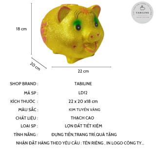 Lợn đất tiết kiệm đựng tiền size VỪA VIP KIM TUYẾN VÀNG cute đẹp giá rẻ TABILINE LD12 2