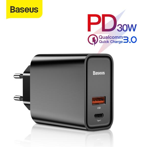 Củ sạc nhanh Baseus 30W/5A cổng USB kép Type C QC 4.0 3.0 PD cho Huawei iPhone