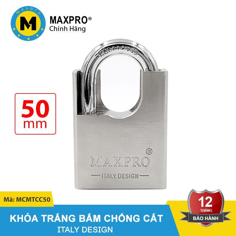 Ổ Khóa Trắng Bấm MAXPRO Chống Cắt Chìa Muỗng 50mm - MCMTCC50