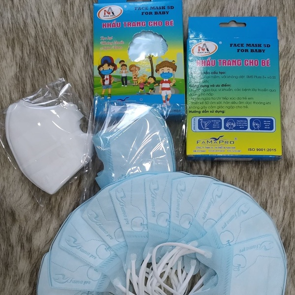 Bịch 10 cái khẩu trang trẻ em 5D Mask (hàng Nam Anh) cho bé từ (1 - 5 ) tuổi