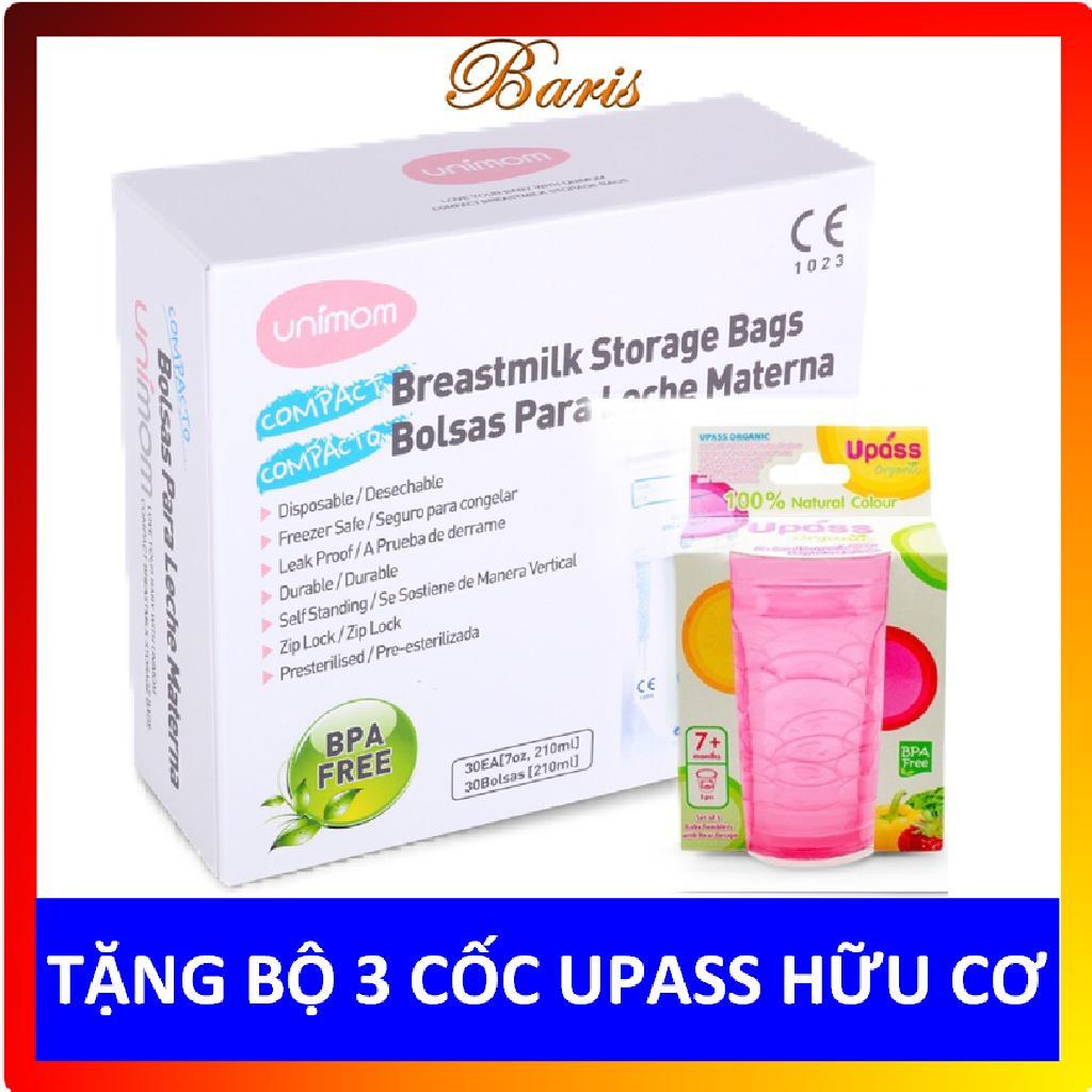 Hộp 60 Túi Trữ Sữa Unimom Compact Không Có BPA 210ml - Tặng Bộ 3 Cốc UPASS Hữu Cơ Organic Giá Rẻ Bất Ngờ