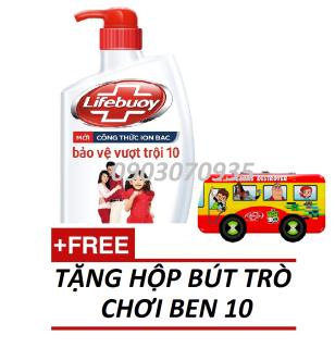 Sữa tắm kháng khuẩn Lifebuoy Bảo vệ vượt trội đỏ chai 850g TẶNG Hộp Bút BEN 10 thumbnail