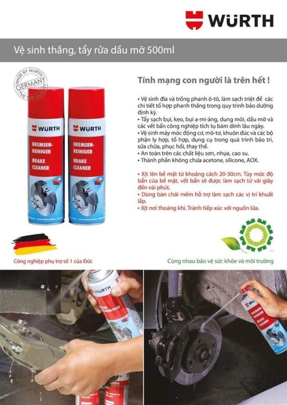 Chai xịt vệ sinh thắng , tẩy rữa dầu mỡ ( WURTH Brake Cleaner 500ml )