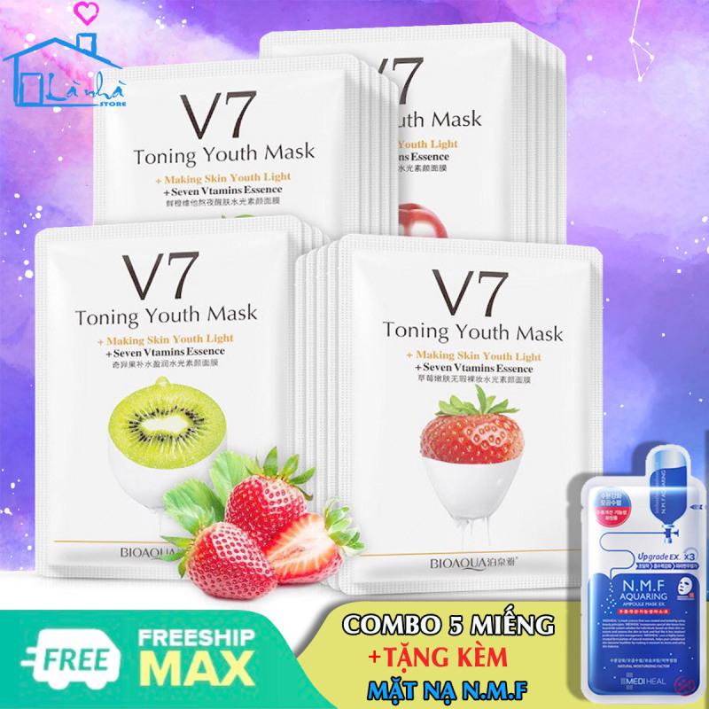 Mặt nạ giấy dưỡng da mụn cấp ẩm thải độc ( COMBO 5 Gói ) V7 Toning Youth Mask Bioaqua giá rẻ