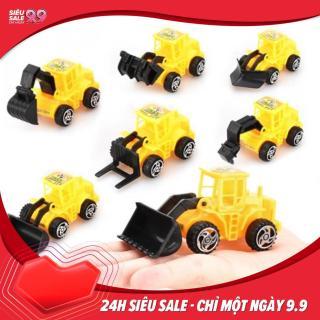 Combo 6 xe đồ chơi kỹ thuật xây dựng mô hình xe máy xúc, xe máy ủi, xe nâng thumbnail