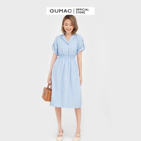Nơi bán Đầm nữ eo chun cổ lật GUMAC mẫu mới DB572 Chất Liệu Vải LAINEN form A xòe style thanh lịch