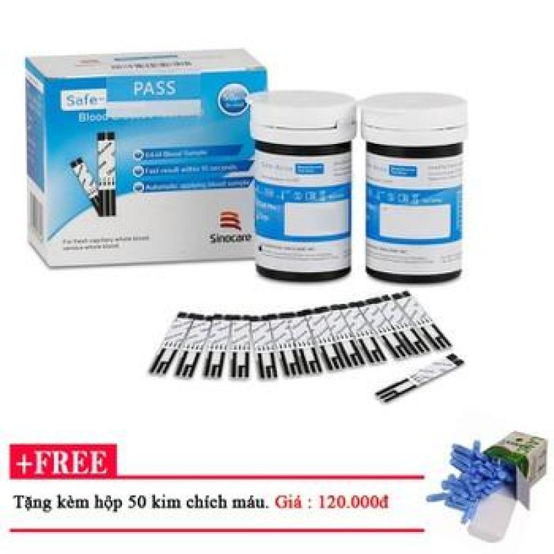 Que thử đường huyết Safe Accu Sinocare 50 que + 50 Kim chích máu