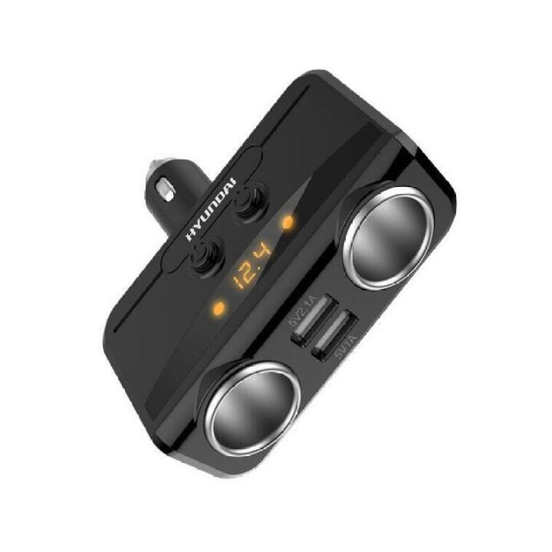 Bộ chia tẩu sạc ô tô, xe hơi HY-32 tích hợp 2 tẩu 2 cổng USB, điện áp ra 3.1A  ( Màu đen)