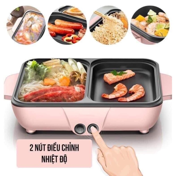 Nồi lẩu nướng chuyên dụng đa năng thiết kế thông minh vừa nhúng lẩu vừa ăn đồ nướng cho cả gia đình sum họp thiết kế nắp kính cường lực chịu nhiệt trong suốt quan sát được thức ăn bên trong