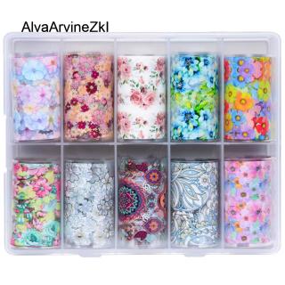 10 Cái hộp Nail Art Laser Flower Sao Chuyển Sticker Mix Rose Flower Chuyển Foil Nails Decal Sliders Nail Art Trang Trí thumbnail