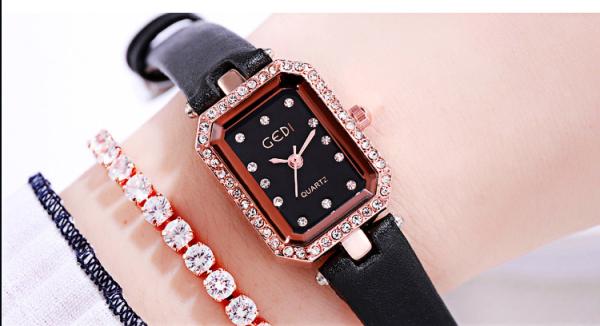 Đồng hồ nữ Gedi hàng chính hãng dây da mặt chữ nhật đính đá bán chạy