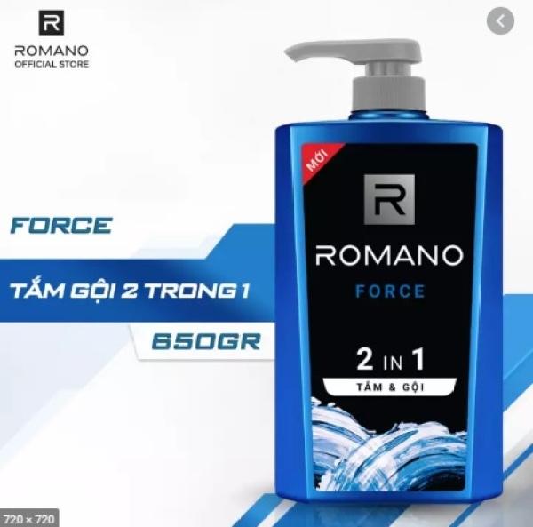 Tắm gội 2 trong 1 Romano Force hương nước hoa 650g