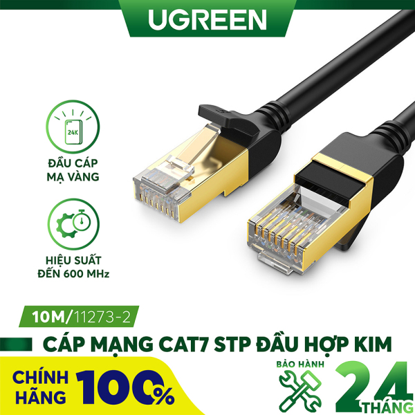 Bảng giá Cáp mạng 2 đầu đúc bọc hợp kim Cat7 STP Dài 10M UGREEN NW107 11273 - Hãng phân phối chính thức Phong Vũ