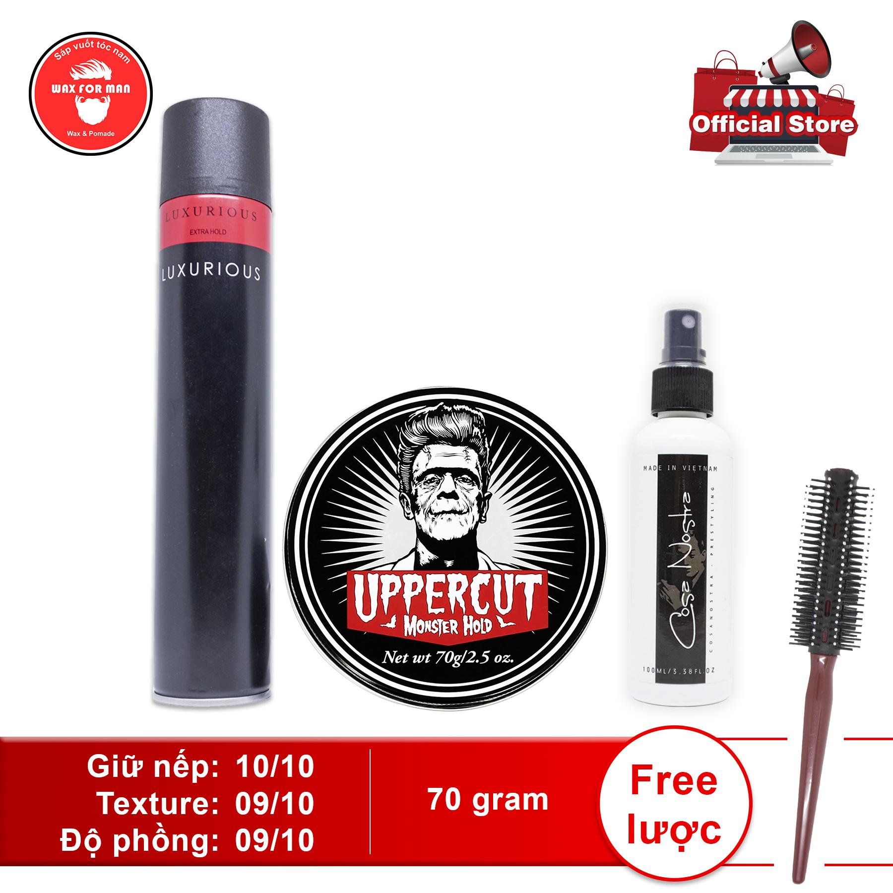 Sáp vuốt tóc Uppercut Monster Hold Pomade + Cosa Nostra pre-styling + gôm Luxurious