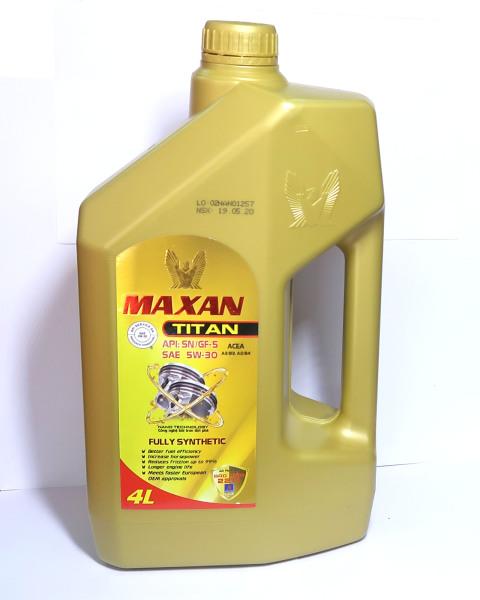 Nhớt Maxan Titan 5W30 4L Công Nghệ Nano Full Tổng Hợp Cho Xe Hơi Máy Xăng