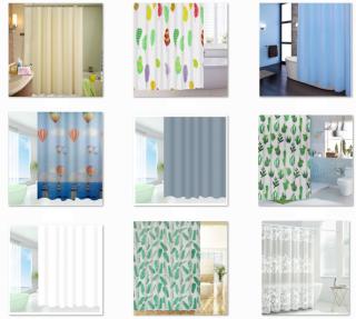 Rèm phòng tắm chống nước 1.8m có kèm móc vải PEVA giá rẻ thumbnail