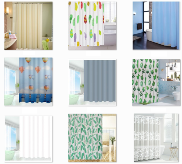 Rèm phòng tắm chống nước 1.8m có kèm móc vải PEVA giá rẻ