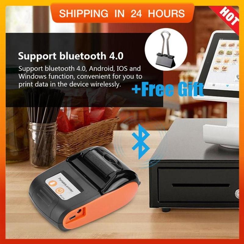 【Quà miễn phí】Di Động không dây Máy In hóa đơn Bluetooth Nhiệt Máy In Hóa Đơn 58 Mét 110-240 V