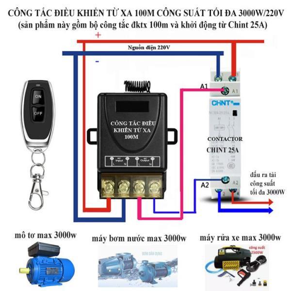 Công tắc điều khiển từ xa 100m công suất lớn 3000W + Khởi động từ Chint 25A bật tắt mô tơ, máy rửa xe, máy bơm nước từ xa