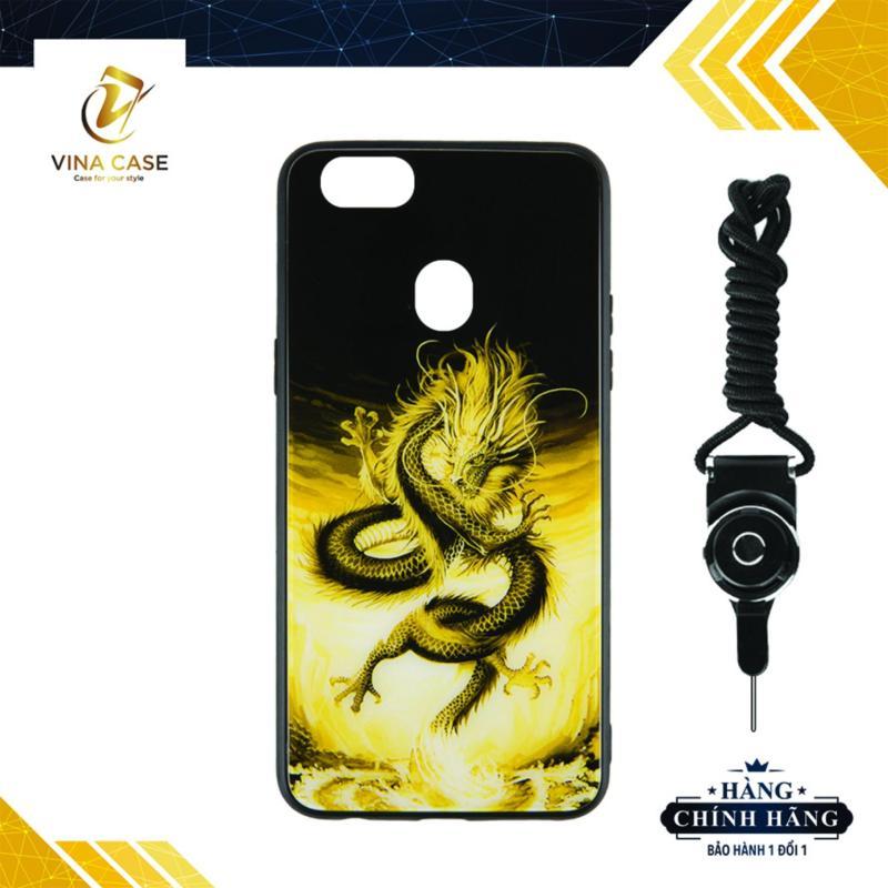 Giá Ốp lưng OPPO F9/A7 2018 rồng vàng kính 3D - Tặng kèm dây đeo điện thoại