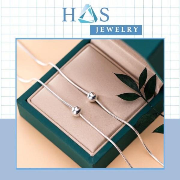 Bộ lắc tay lắc chân bạc H.A.S dây trơn bi bạc - Combo thời trang bạc chuẩn