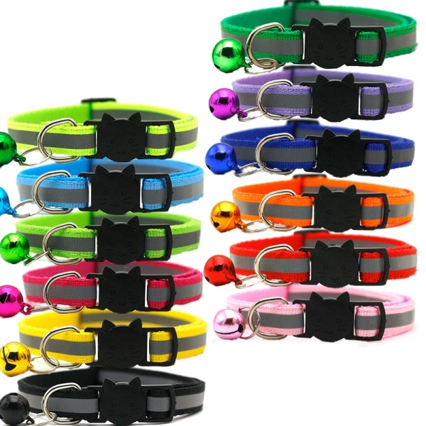 12 Pcs Reflective Cat Collars Quick Release Safety Buckle with Bell Adjustable 19-32cm (12 Colors)