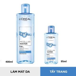 Nước tẩy trang L Oreal Paris Micellar Water 3 in1 95ml 400ml - Tươi mát ( xanh nhạt) thumbnail