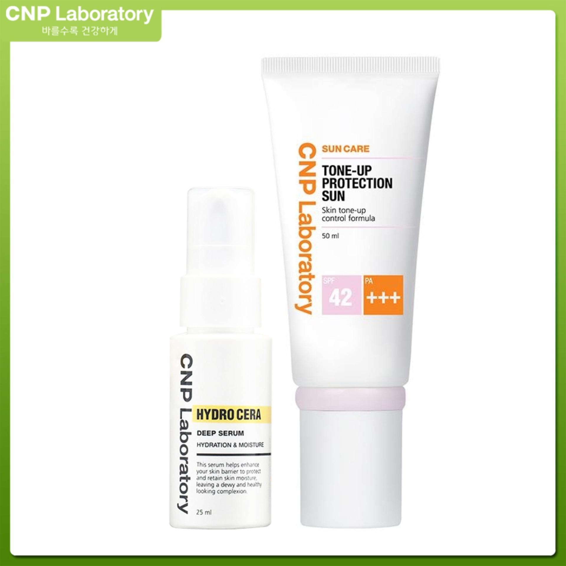Combo Kem chống nắng nâng tông da CNP Laboratory Tone-Up Protection Sun SPF42/PA+++ 50ml và Tinh chất dưỡng ẩm Hydro Cera Serum 25ml
