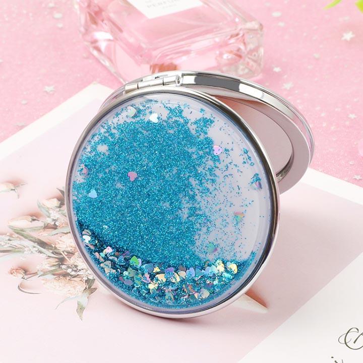 Gương mini bỏ túi trang điểm kim tuyến lấp lánh, bắt mắt hình tròn tốt nhất