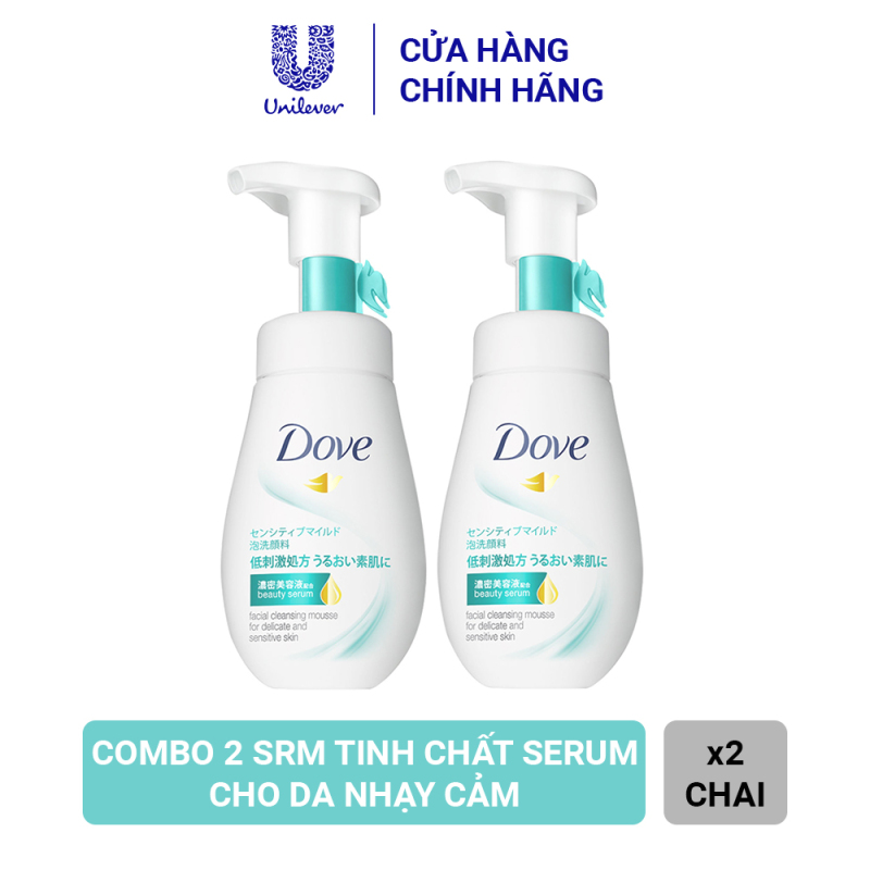 Combo 2 Sữa Rửa Mặt Dạng Bọt Dove Tinh Chất – Serum Cho Da Nhạy Cảm (160ml x 2)