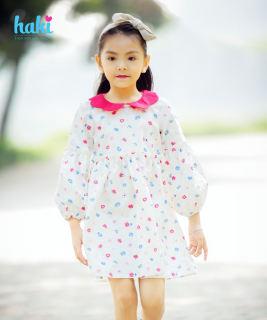 Váy bé gái hoa bèo tay cổ Peter Pan sắc màu, đầm cho bé gái thô cao cấp xuất khẩu HAKI HK498 (10-26kg); đầm thiết kế bé gái; váy dài tay cho bé; kid dress