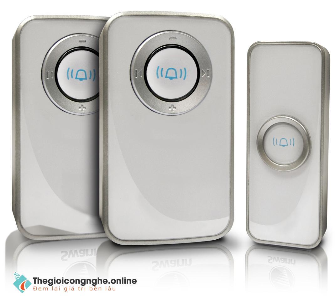 Chuông cửa không dây: 2 chuông, 1 nút bấm - Hỗ trợ nhà cao tầng